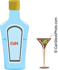 Gin Bottle and Martini Glass - Gin bottle and dry gin...