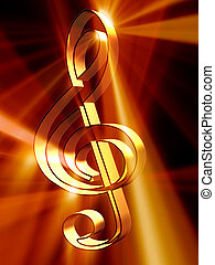 Music - Shining 3d rendered golden treble clef
