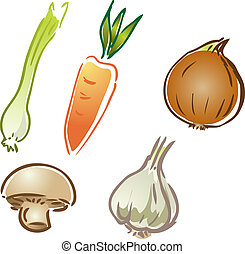 Vegetable icons - Fresh garden vegetables illustration...