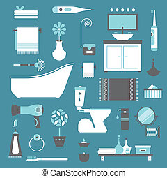 bathroom icons - Vector set of stylized various vector icons
