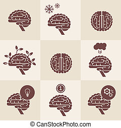 Brain icons - Vector set of 9 brain icon designs