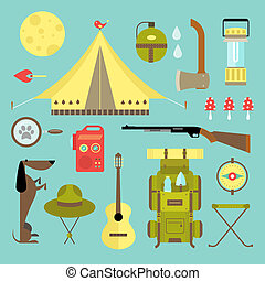Vector camping icons - Vector set of cute various camping...