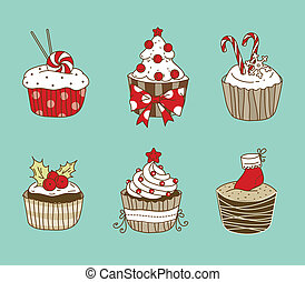 Christmas cupcakes - Vector illustration of 6 Christmas...