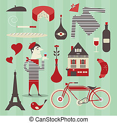 French icons - Vector set of various icons about france