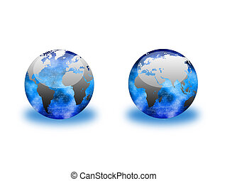 Clear Globes - Two clear globes with sparkling interiors,...