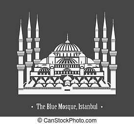 The Blue Mosque, Istanbul - Vector silhouette of The Blue...