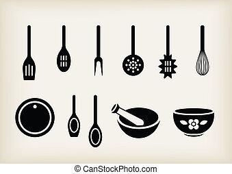 Kitchen tools - Vector set of kitchen tools
