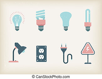 Lamps - Vector illustration of various icons of lamps
