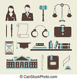 Law icons - Vector set of stylized icons law legal system