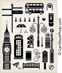 London city street icon set - Vector London city street icon...