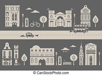 London street - Vector illustration of a cute stylized...
