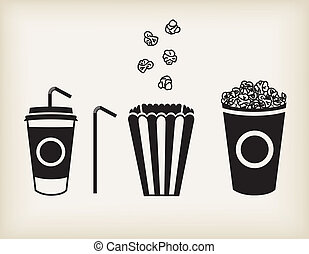 Vector popcorn set - Vector illustration of soda cup, straw...