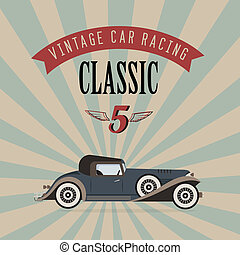 Vector vintage classic car - Vector poster of a classic...