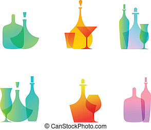 Glass bottle icons - Vector set of icons of glass bottles
