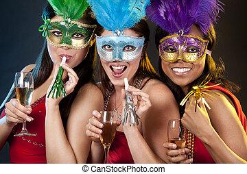 group of women partying - beautiful three women having fun...
