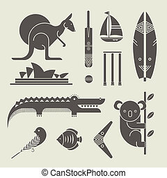 Australia icons - Vector set of various stylized Australia...
