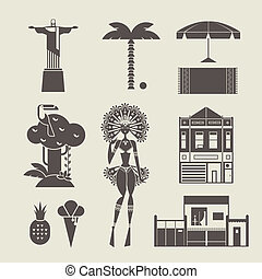 Brazilian icons - Vector set of various stylized Brazilian...