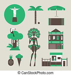 Brazilian icons - Vector set of various stylized Brazilian...