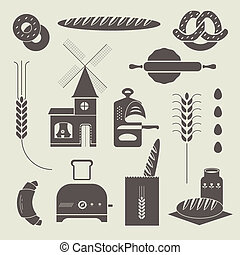 Bread icons - Vector set of various stylized bread icons