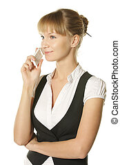Businesswoman talking by phone - Young businesswoman talking...