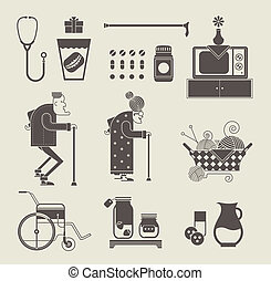 Granny icons - Vector set of stylized granny icons