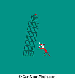 Pisa tower with a tourist vector illustration