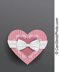 Girly box and bow - Vector gift box with a bow and ribbon