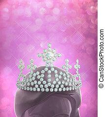 Diamonds crown on women head in pin - The winner is the...