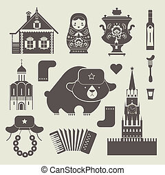 Russian icons - Vector set of various stylized russian icons