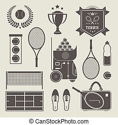 Vector tennis icons - Vector illustration of various...
