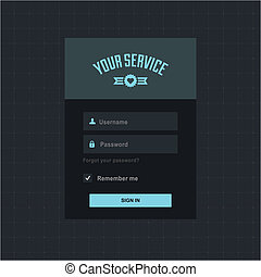 Login form - Vector login form ui element on dark background