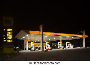 gas, estación, noche