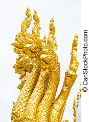 Thai dragon, golden Naga statue in temple