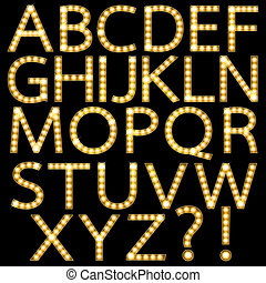 Golden Broadway Light Bulb Alphabet - Set of Golden Broadway...
