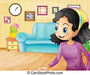 A happy mother in the living room - Illustration of a happy...
