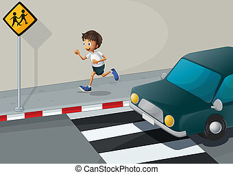 A man running at the road with a car