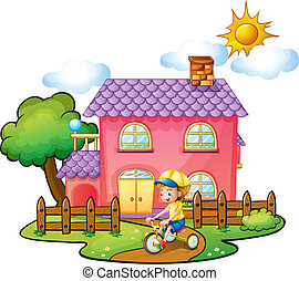 A little boy playing in front of their house - Illustration...