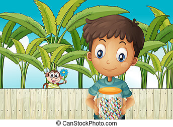 Illustration of a boy with a jar of candies standing in front of the fence with a monkey