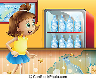 A happy young girl inside the store selling sodas -...