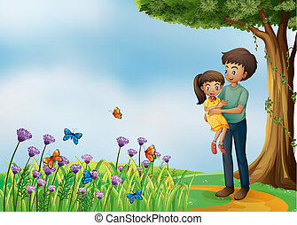 A girl and his father at the hilltop - Illustration of a...