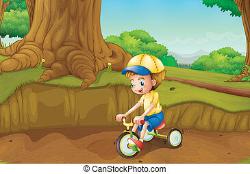 A child playing at the ground - Illustration of a child...