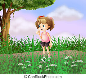A cute little girl walking in the street - Illustration of a...