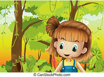 A cute little girl in the forest