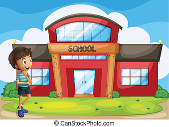 A boy in front of the school building - Illustration of a...