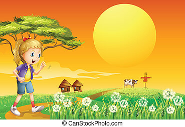 A girl going to the farm - Illustration of a girl going to...
