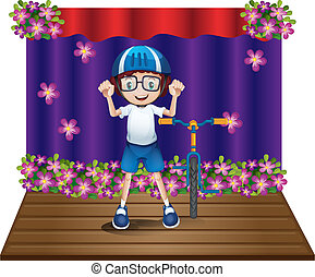 A stage with a biker at the center - Illustration of a stage...