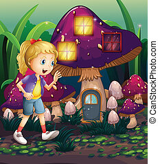 A young girl at the enchanted mushroom house - Illustration...