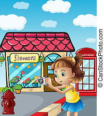 A girl taking photos at the street - Illustration of a girl...