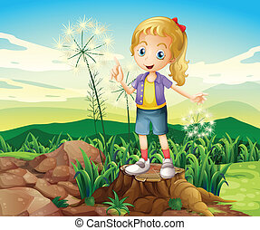 A stump with a young girl standing