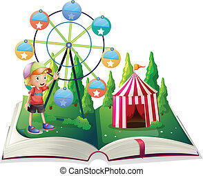 An open storybook with a carnival and a young boy -...